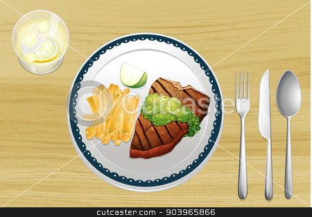 Steak and french fries stock vector clipart, Illustration of a steak and french fries on a wooden table by Matthew Cole
