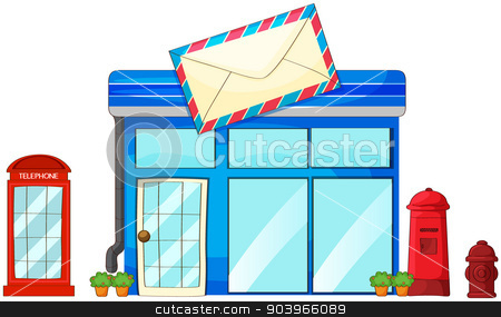 A post office, a mailbox and a telephone stock vector clipart, Illustration of a post office, a mailbox and a telephone on a white background by Matthew Cole