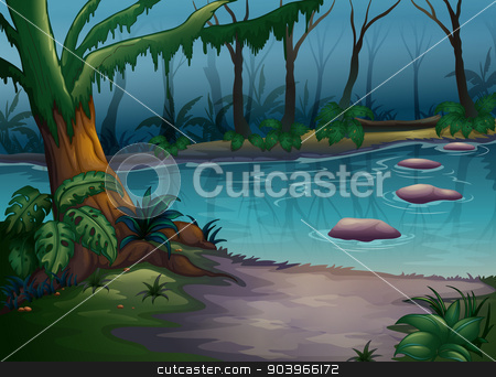a river stock vector clipart, illustration of a river in a beautiful nature by Matthew Cole