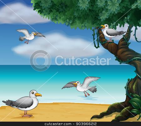 Birds at the seashore stock vector clipart, Illustration of birds at the seashore by Matthew Cole