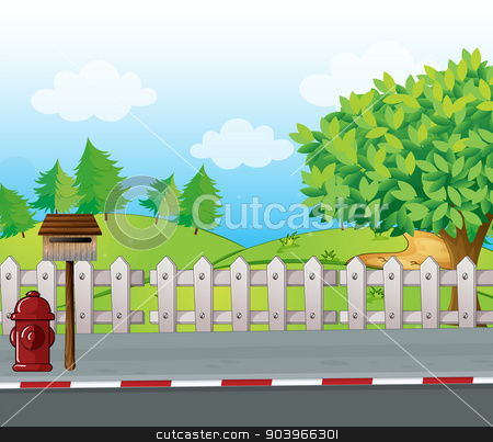 A letter box and a fire hydrant stock vector clipart, Illustration of a letter box and a fire hydrant on a roadside by Matthew Cole