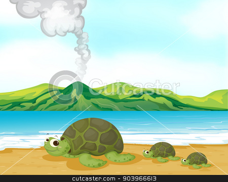 A volcano beach and turtles stock vector clipart, Illustration of a volcano beach and turtles by Matthew Cole