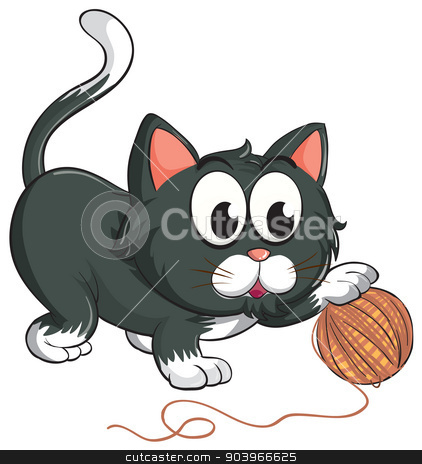 a cat stock vector clipart, illustration of a cat on a white background by Matthew Cole