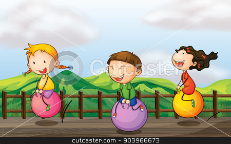 Kids playing at the bridge stock vector clipart, Illustration of kids playing at the bridge by Matthew Cole