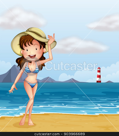 A sexy girl at the beach stock vector clipart, Illustration of a sexy girl at the beach by Matthew Cole