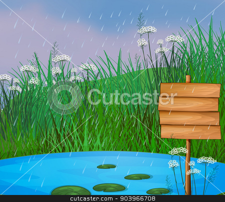 A pond and the wooden signboard stock vector clipart, Illustration of a pond and the wooden signboard by Matthew Cole