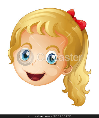 A face of a girl stock vector clipart, Illustration of a face of a girl on a white background by Matthew Cole