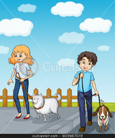 A smiling girl and a boy having dog stock vector clipart, Illustration of a smiling girl and a boy having dog by Matthew Cole