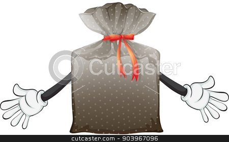 A pouch bag stock vector clipart, Illustration of a pouch bag on a white background by Matthew Cole