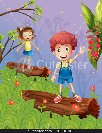 Kids playing in the forest stock vector clipart, Illustration of kids playing in the forest by Matthew Cole