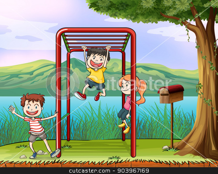 Kids playing monkey bar and a letter box stock vector clipart, Illustration of kids playing monkey bar and a letter box by Matthew Cole