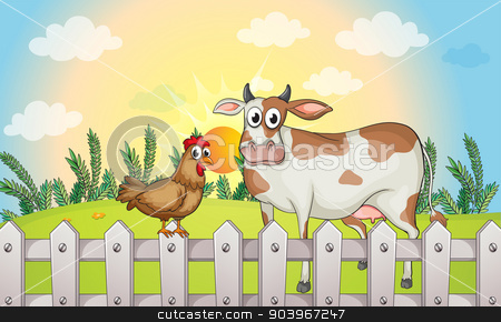 A cow and a rooster stock vector clipart, Illustration of a cow and a rooster by Matthew Cole