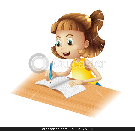 A happy girl writing stock vector clipart, Illustration of a happy girl writing on a white background by Matthew Cole