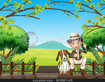 A smiling boy and a dog stock vector clipart, Illustration of a smiling boy and a dog sitting on a wooden platform by Matthew Cole
