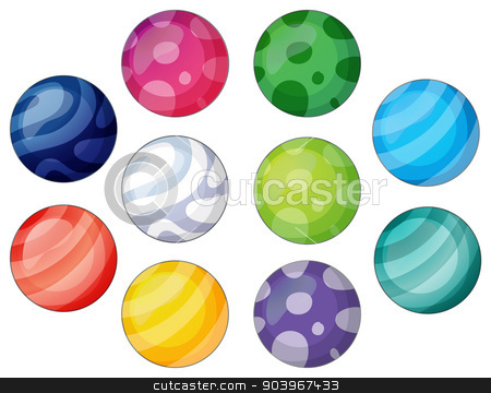 Group of balls stock vector clipart, Illustration of a group of balls on a white background by Matthew Cole