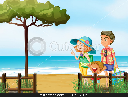 A Family At The Beach Stock Vector