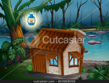 A house, a lamp and a river stock vector clipart, Illustration of a house, a lamp and a river in the jungle by Matthew Cole