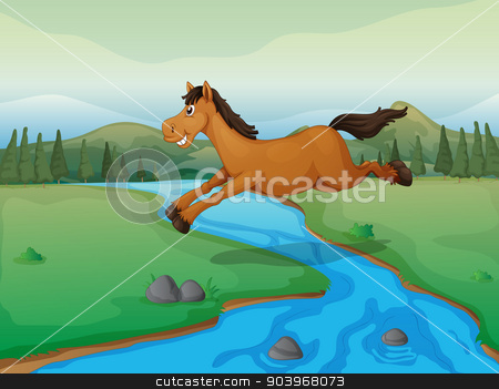 Horse crossing the river stock vector clipart, Illustration of a horse crossing the river and a mountain view by Matthew Cole