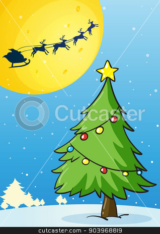 christmas tree stock vector clipart, illustration of a christmas tree on white background by Matthew Cole