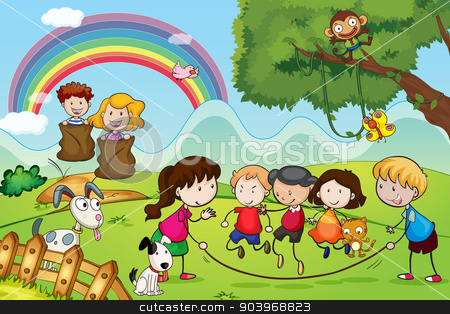 animals and kids stock vector clipart, illustration of animals and kids in a beautiful nature by Matthew Cole