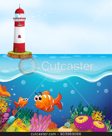 035 stock vector clipart, illustratio of a light house, fishes and coral in sea by Matthew Cole
