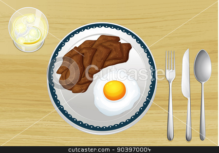 A meat and an omelet in a dish stock vector clipart, illustration of a meat and omelet in a dish on a wooden background by Matthew Cole
