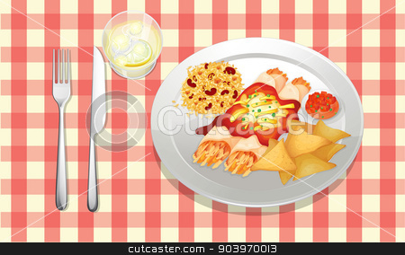 Mexican Food stock vector clipart, illustration of food on a colored background by Matthew Cole