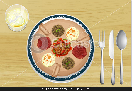A food in a dish stock vector clipart, Illustration of a food in a dish on a wooden background by Matthew Cole