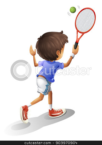 A kid playing tennis stock vector clipart, Illustration of a kid playing tennis on a white background by Matthew Cole