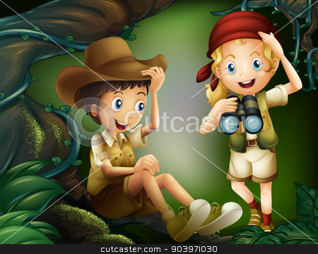 A jungle with a boy and a girl stock vector clipart, Illustration of a jungle with a boy and a girl by Matthew Cole