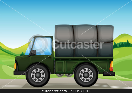 A military truck in the road stock vector clipart, Illustration of a military truck in the road by Matthew Cole