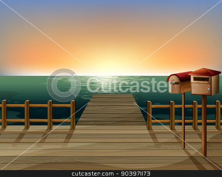 The wooden bridge and the mailbox stock vector clipart, Illustration of the wooden bridge and the mailbox by Matthew Cole