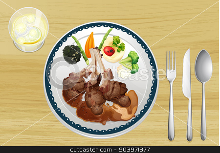 A meat and salad in one dish stock vector clipart, Illustration of a meat and salad in one dish on a wooden table by Matthew Cole