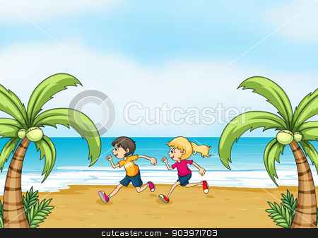 Kids jogging along the seashore stock vector clipart, Illustration of kids jogging along the seashore by Matthew Cole