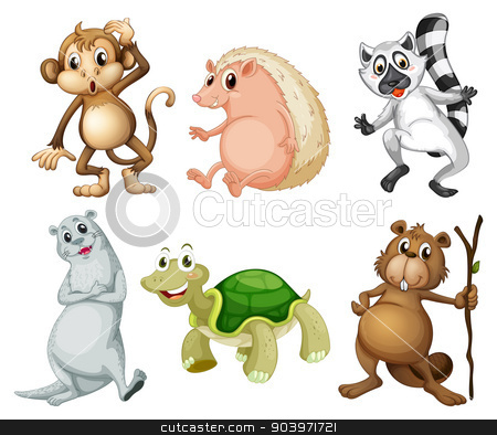 Six different kinds of wild animals stock vector clipart, Illustration of the six different kinds of wild animals on a white background by Matthew Cole