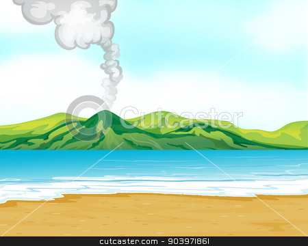 A view of the beach near a volcano stock vector clipart, Illustration of the view of the beach near a volcano by Matthew Cole