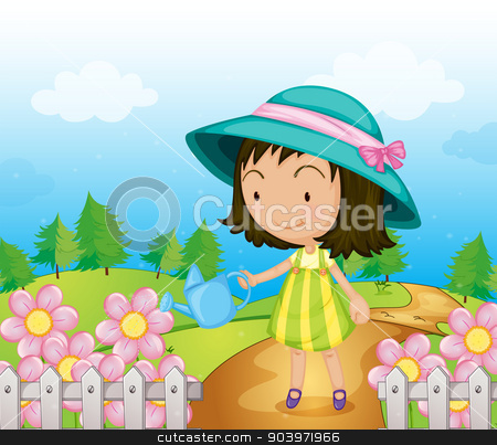 A girl watering the flowers stock vector clipart, Illustration of a girl watering the flowers by Matthew Cole