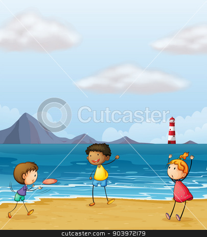 Children playing at the seashore stock vector clipart, Illustration of children playing at the seashore by Matthew Cole