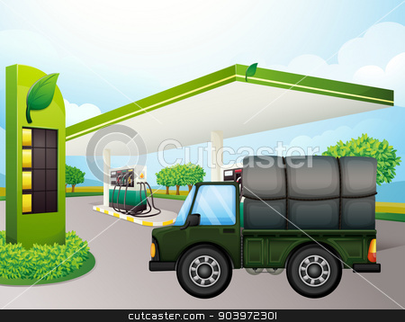 A truck near the gasoline station stock vector clipart, Illustration of a truck near the gasoline station by Matthew Cole
