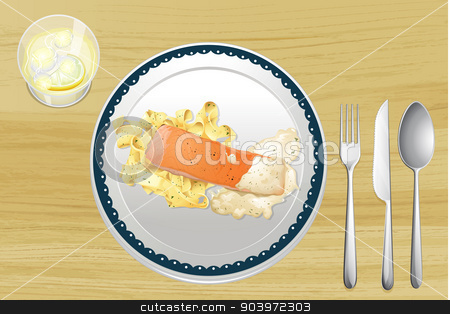 Salmon and pasta stock vector clipart, Illustration of salmon and pasta on a wooden table by Matthew Cole