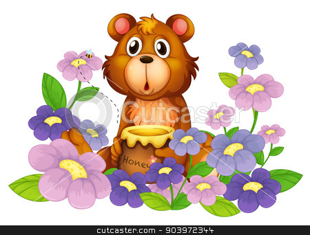 A bear holding a honey in the flower garden  stock vector clipart, Illustration of a bear holding a honey in the flower garden on a white background by Matthew Cole