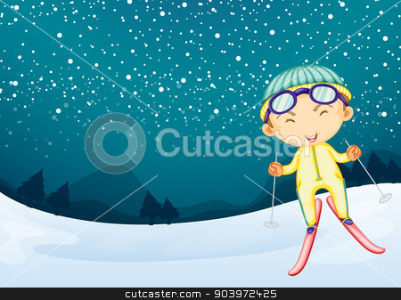 A kid enjoying the snow stock vector clipart, Illustration of a kid playing in the snow  by Matthew Cole
