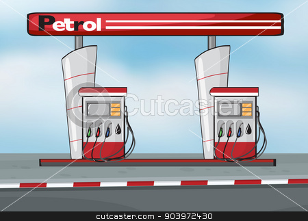 Petrol station stock vector clipart, Illustration of petrol station on blue background by Matthew Cole