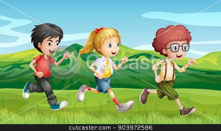 Kids running across the hills stock vector clipart, Illustration of kids running across the hills by Matthew Cole
