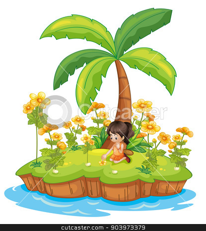 Girl on an island stock vector clipart, Illustration of a girl on an island by Matthew Cole