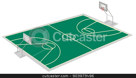 basketball court stock vector clipart, illustration of a basketball court on a white by Matthew Cole