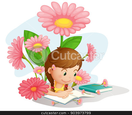 Homework stock vector clipart, Illustration of a girl doing homework by Matthew Cole