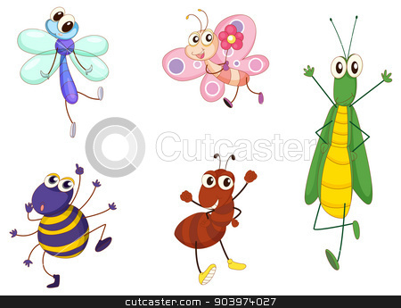 Mixed animals stock vector clipart, Illustration of small animals on white by Matthew Cole
