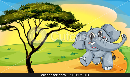 Elephant under a tree stock vector clipart, illustration of a Elephant standing under a tree by Matthew Cole