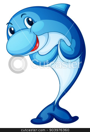 Dolphin isolated on white stock vector clipart, illustration of a shark fish on white background by Matthew Cole
